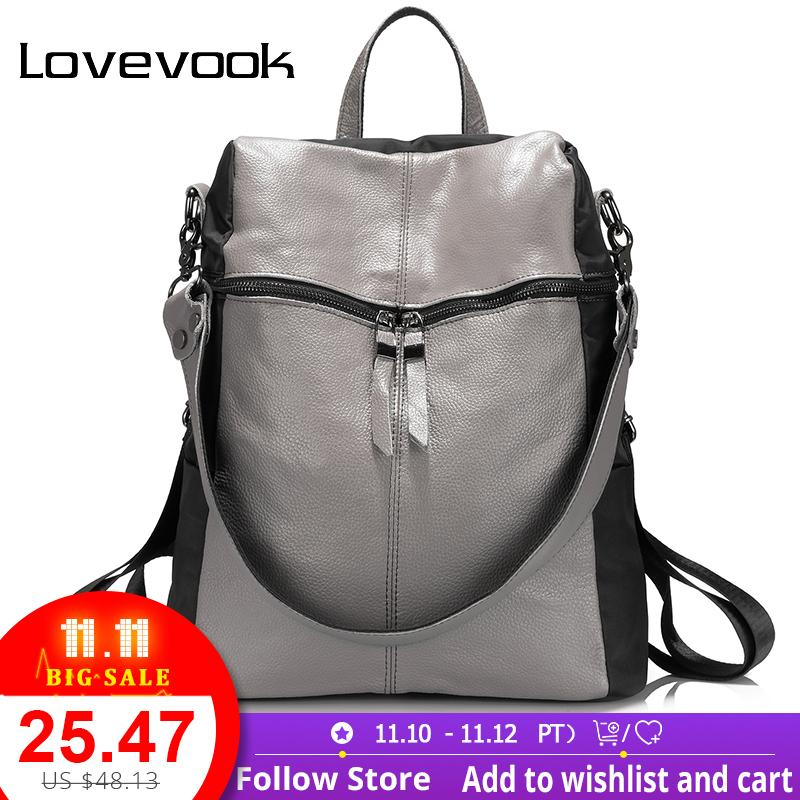 ff95b6aa9db2 2019 FashionLOVEVOOK Women Backpacks School Bags For Teenage Girls Genuine  Leather Multifunctional Shoulder Bags Large Capacity Travel Bags Hiking  Backpack ...