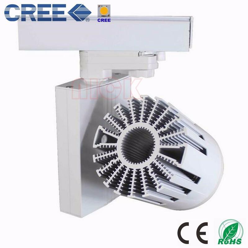 4-wiees 3-fase 30W CREE COB LED Luz de pista LED Spot Light Negro / Blanco Carcasa Alto CRI 90Ra AC85-265V