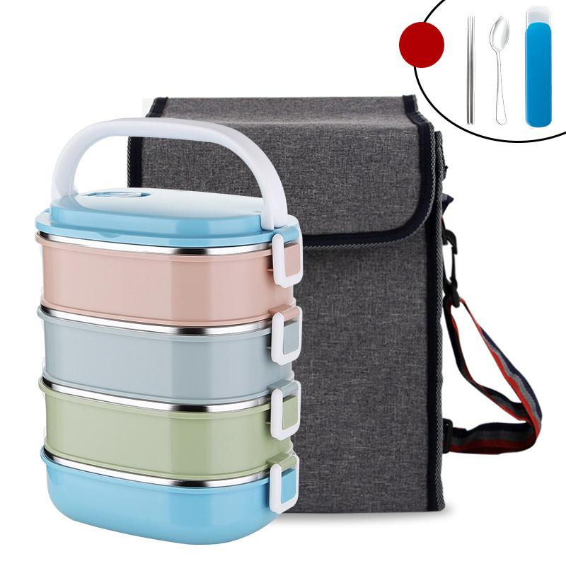 36038e3340d2 Japanese Food Container Square Plastic With Bag Dinnerware Set 304  Stainless Steel Thermal Bento Lunch Box Portable School Kids C18112301
