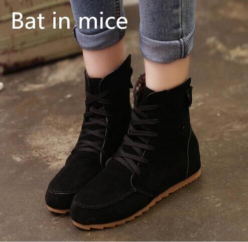 Bat in mice 2017 Women Autumn Winter Warm Snow Martin Ankle Boots Lace Up Bottine Platform Flats Shoes Booties plus size #1