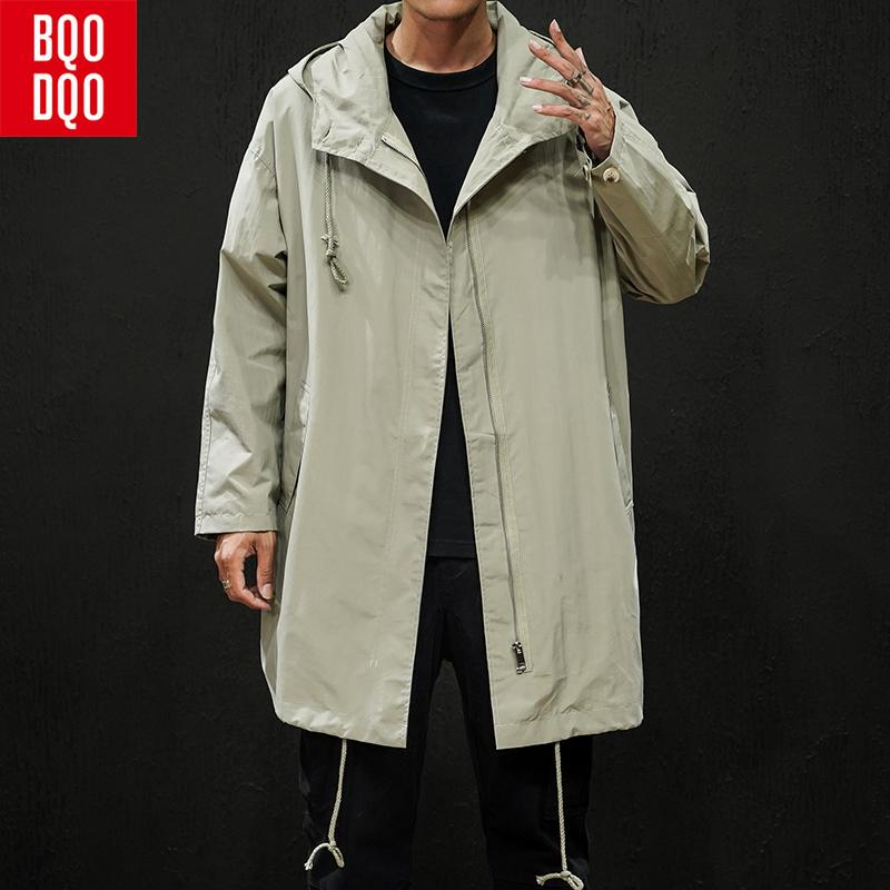 BQODQO Drawstring Thin Casual Long Coat For Men Autumn Button College Jacket and Coats Men's Black Japanese Streetwear Clothing