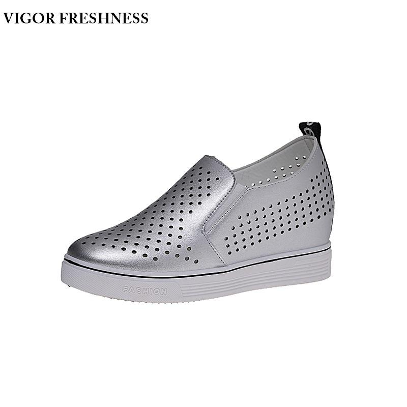 c04dcb15d49 Designer Dress Shoes VIGOR FRESHNESS Pumps Women Wedges Platform Summer Women  Height Increasing Cutout Wedding Party Silver W269 Men Sandals Best Shoes  From ...