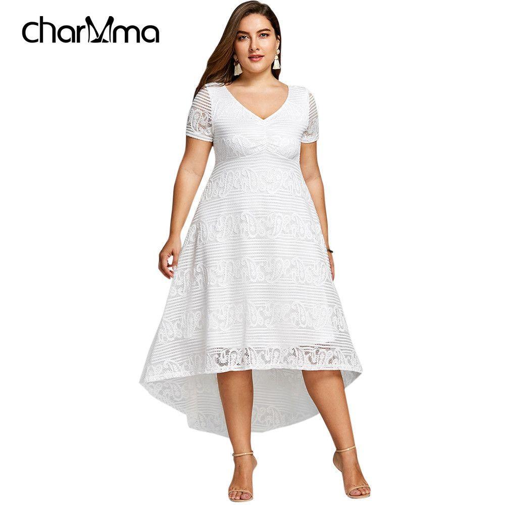 c6ad71492c497 Summer Midi Dress Women Plus Size sundress Short Sleeves White black V-Neck  Semi Formal Lace Party Dress robe femme Vestidos Q190422