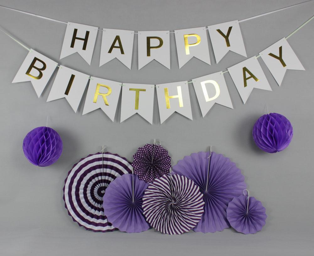 / Set vert / rose / bleu / violet ensemble fan de papier suspendu pour la décoration de fête, bannière de joyeux anniversaire pour garçon fille Baby Shower Decor