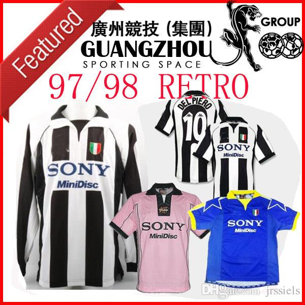on sale 3865c 56495 1997 1998 Juventus ZIDANE RETRO SOCCER JERSEYS away THIRD 2ND BLUE pink  long sleeve DEL PIERO 97 98 JERSEY INZAGHI 9 LS FOOTBALL SHIRTS