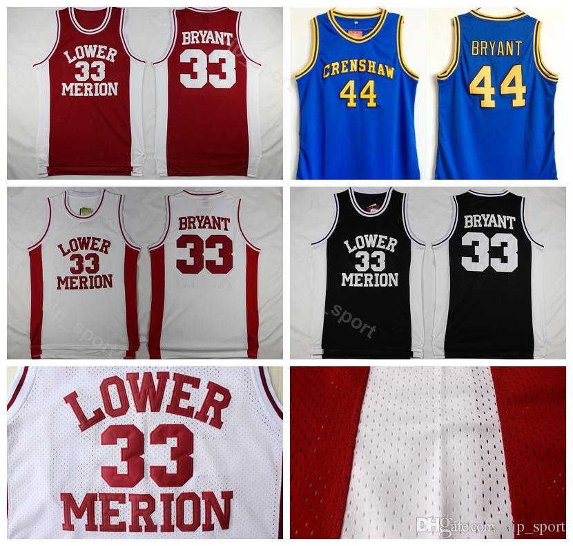huge discount b3b02 a9c2f Lower Merion College Kobe Bryant Jersey 33 Hightower Crenshaw High School  44 Bryant Basketball Jerseys Sport Team Color Blue White Red Black