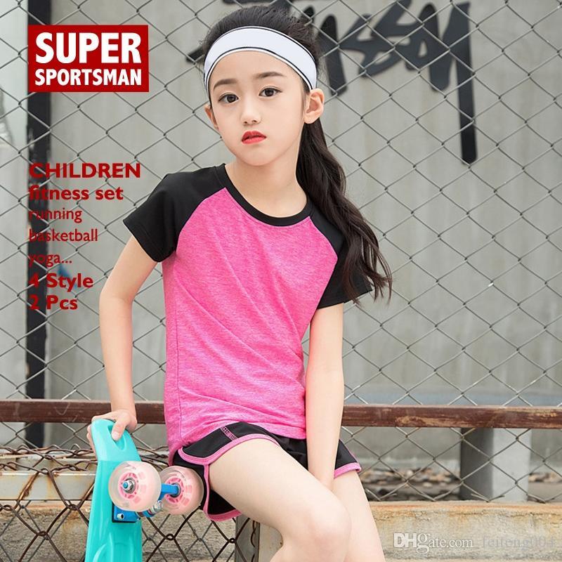 Kinder Sport Laufen Jogginganzüge Frauen Gym Wear Fitness Kleidung Yoga Set Kinder Mädchen Basketball Badminton Training Sportbekleidung # 716004