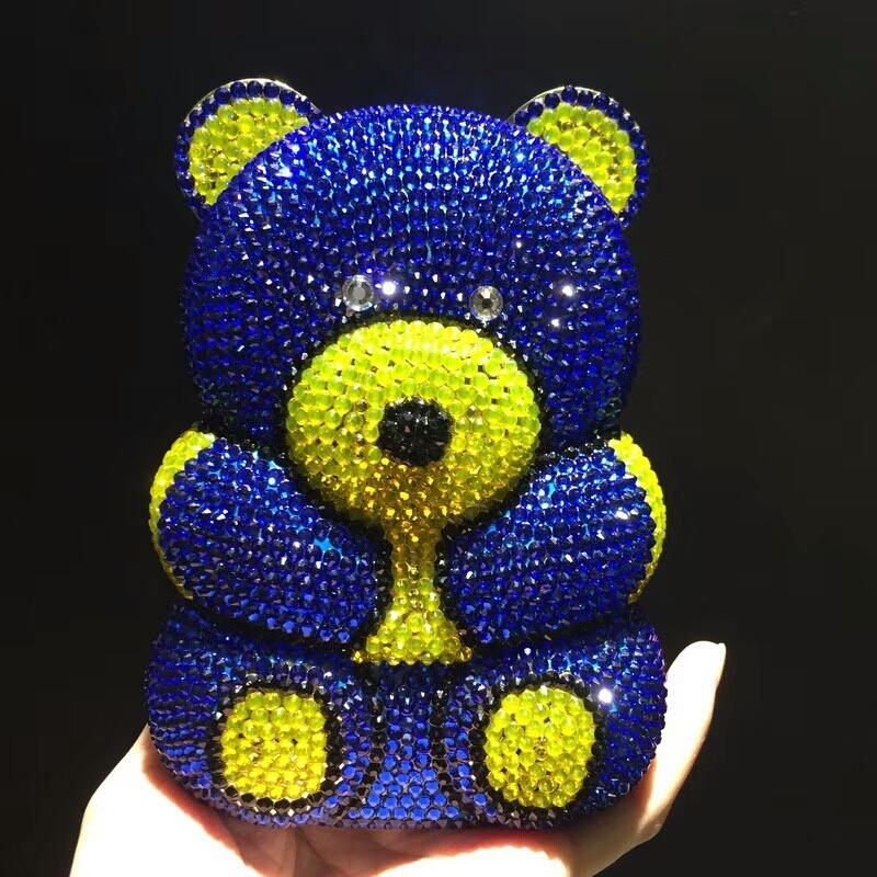 blue pink bear Evening pearl beaded Bags Ladies Wedding Party Bag Crystal Clutch Diamonds Purses wallets for bride shoulder bag