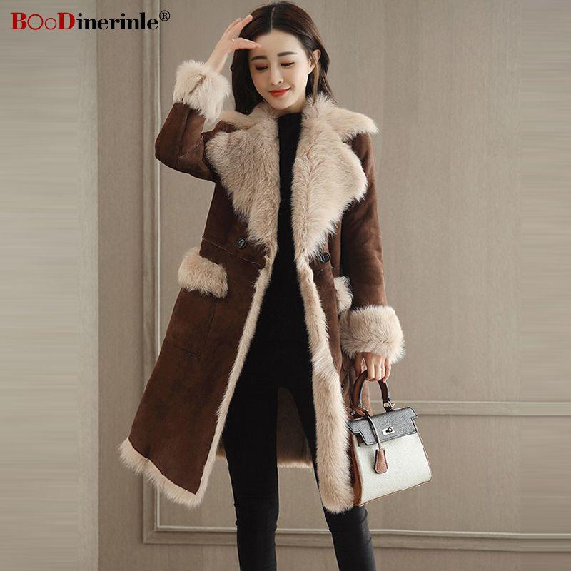 new styles 16695 71cd8 Mode Winter frauen Braun Wildleder Mantel Weibliche Lange Verdicken Warme  Pelzjacke Einfache Straße tragen Stitching Outwear für Frauen L072