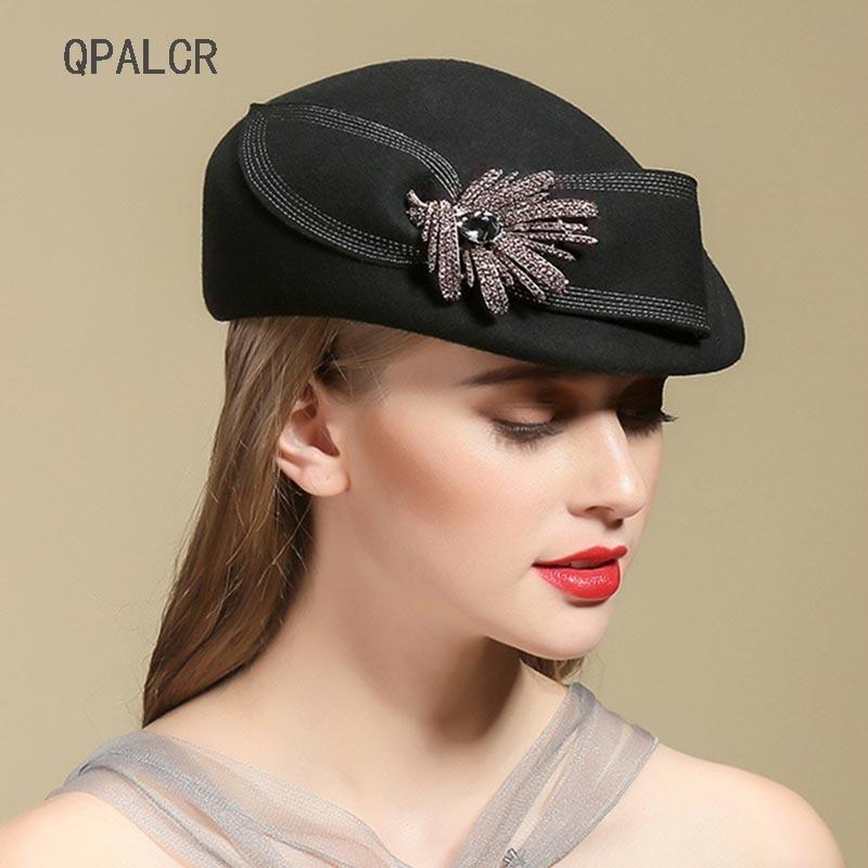QPALCR Fascinator Elegant Hats Women Wool Fedora Hat Ladies Vintage Wool Felt  Hat Berets Classic Black Church Cap Rhinestone D19011102 Fedora Hats For  Women ... e389d27aa55