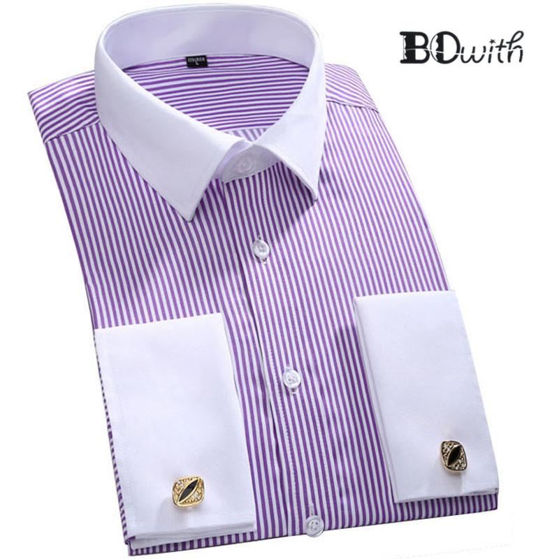 Purple Striped French Cufflink Men Shirt Long Sleeved Shirt Male Social  Business Dress Work Men Business Shirts Formal 4XL