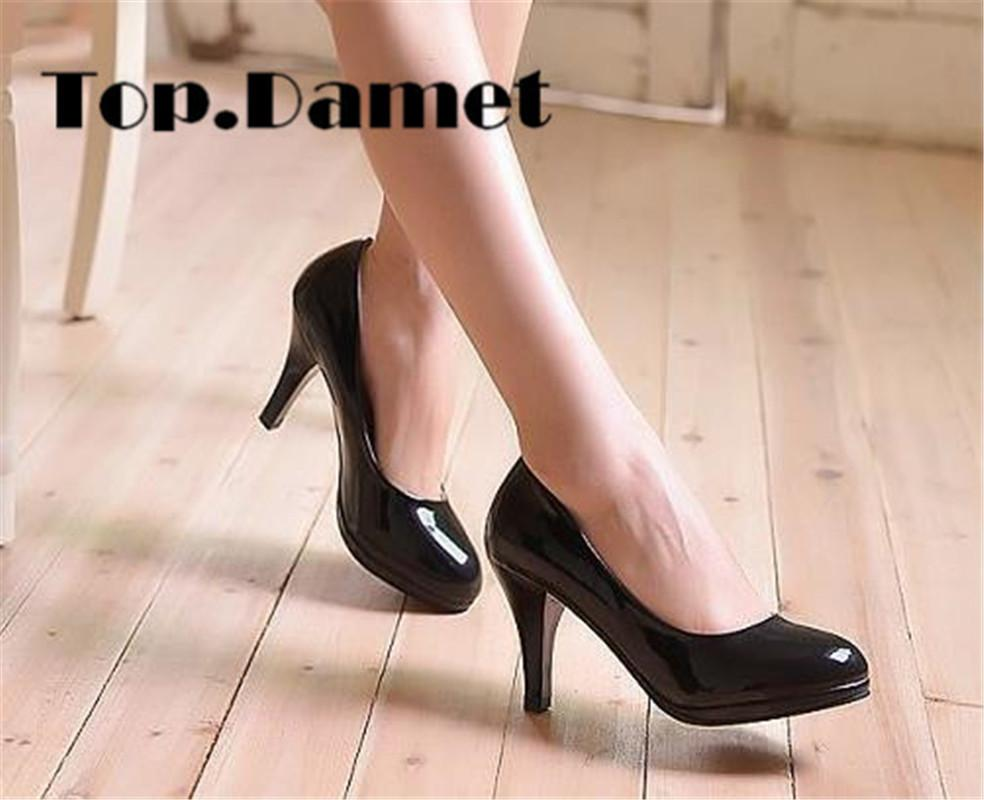 d864edffbcd5b Damet Women High Quality Basic Style High Heel Patent Leather Round Toe  Office Shallow Footwear Woman Pumps Shoes Plus Size Mens Sneakers High Heels  From ...
