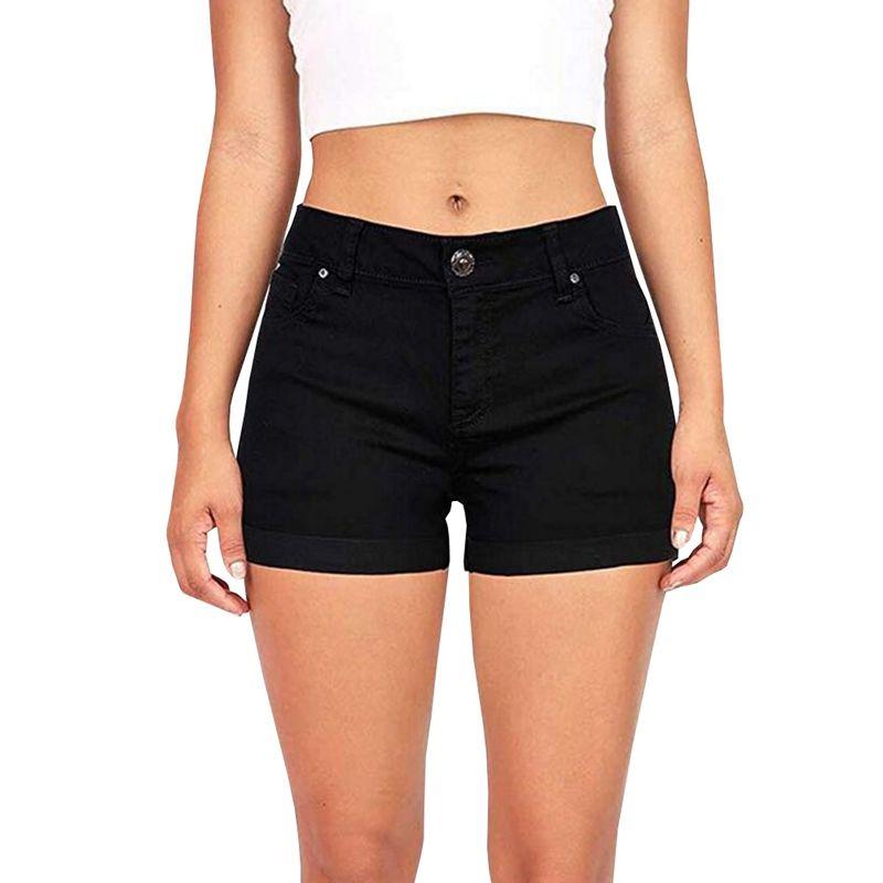570f65ffed14 Pantalones cortos de mezclilla negros Algodón Cintura alta bolsillos con  botones de moda Pantalones cortos para mujer Pantalones cortos Sexy Jean de  ...