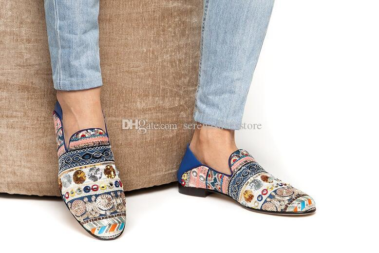d6cabc0a0ba Multi-color Hand Embroidered Canvas Flats Indian Style Mixed Pattern ...