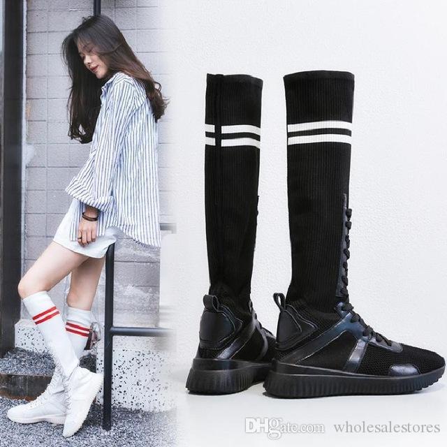 Autumn Knitted Long Socks Boots Women Shoes Elastic Slim Footwear Knee High Boots  Winter Botines Mujer Tenis Feminino Plataforma Online with  125.75 Piece ... da3c14930ab6