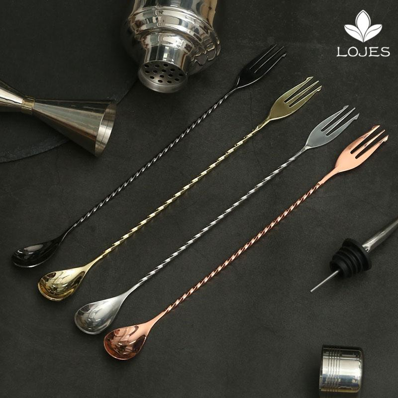 400mm Cocktail Bar Spoon 304 Stainless Steel Bar Spoon With Fork Twisted  Mixing Stir Tool
