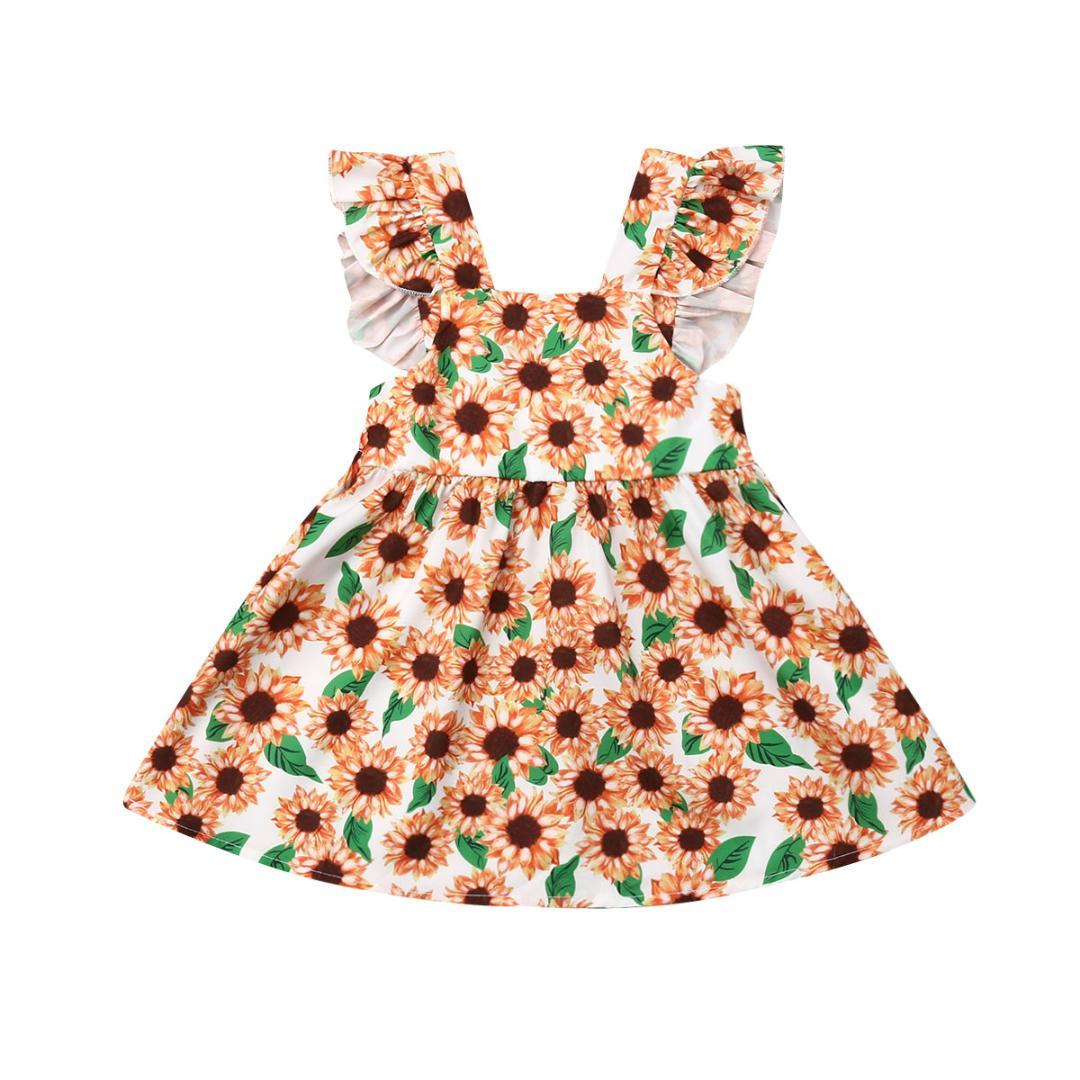 cf26254610ec1 2019 Newborn Baby Girl Sunflower Dress Toddler Girls Ruffle Floral Print  Shoulder Straps Sundress Sleeveless Dress Summer 2019 From Henryk, $41.79 |  DHgate.