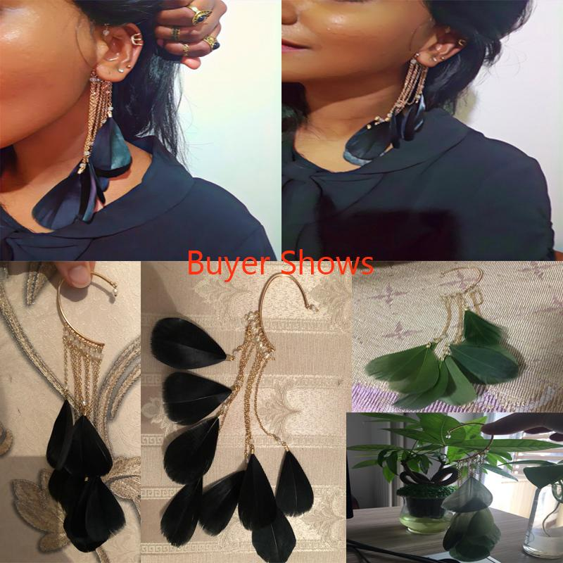 Boho Green Leaves Feather Long Tassels Cuff Clip on Earrings Without Piercing Women Ear Cuff Fashion Unqiue India Jewelry