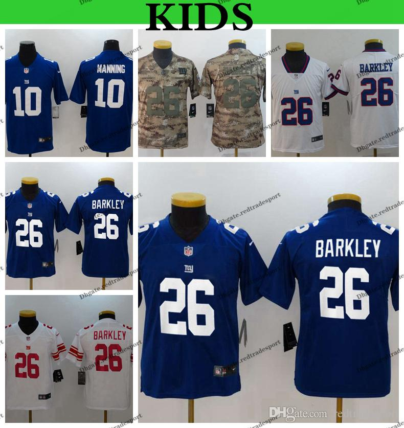 official photos 69b02 de5e5 Youth New York Kids Giants Saquon Barkley Football Jerseys Cheap Eli  Manning 10 Saquon Barkley 26 Camo Salute to Service Stitched Shirts