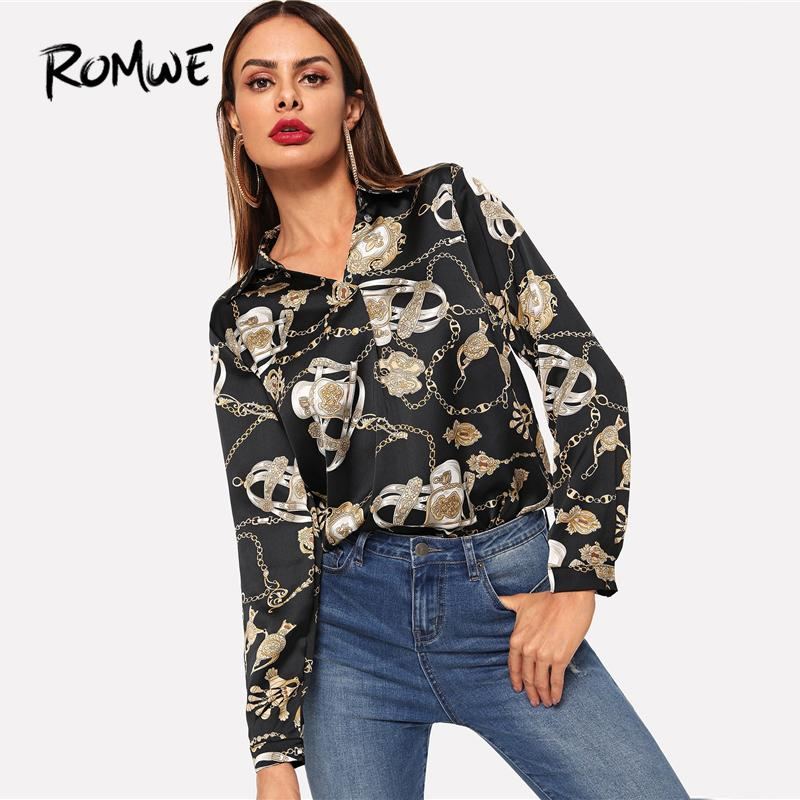 23f3077bc6dec 2019 ROMWE Chain Print Blouse 2019 V Neck Sexy Women Shirts Casual Cool  Black Fashion Spring Autumn Female Long Sleeve Shirt Top From Balsamor