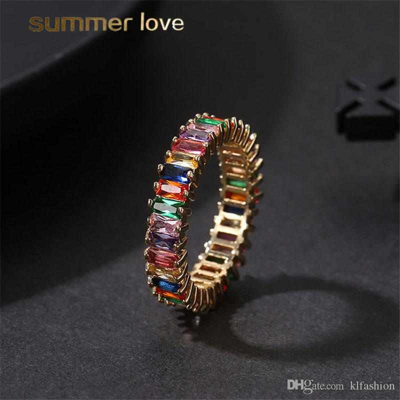 High Quatity Rainbow Crystal Zircon Ring Engagement Rings For Women Fashion Square Baguette CZ Eternity Finger Ring Wedding Jewelry