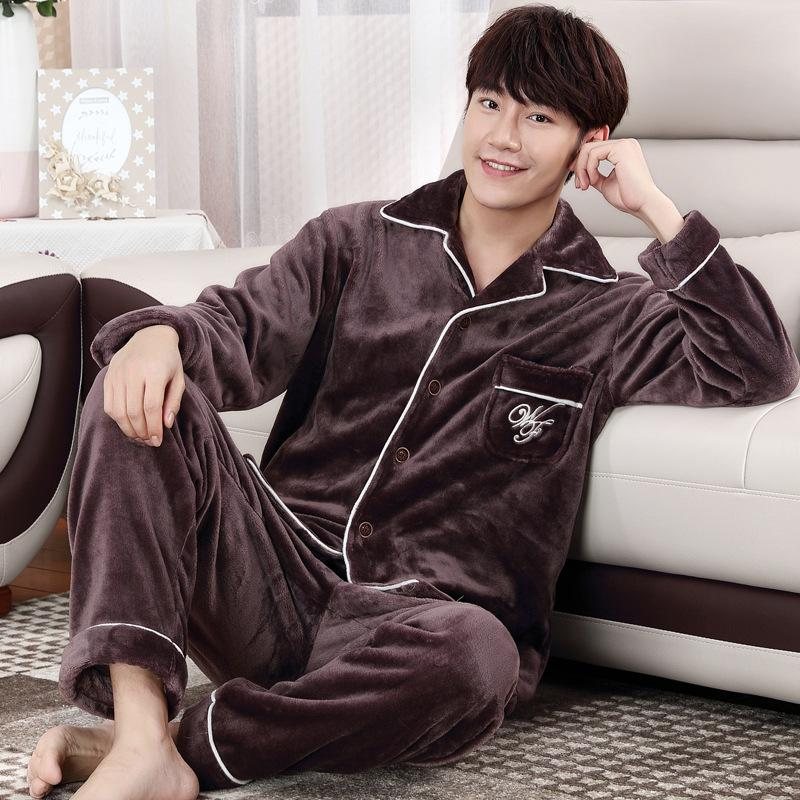 2019 Winter Autumn Plus Size Flannel Pajamas Thick Men Coral Fleece Pajama  Sets Sleepwear Long Sleeve Male Nightgown Warm Lounge Set From Cutelove66 239876383