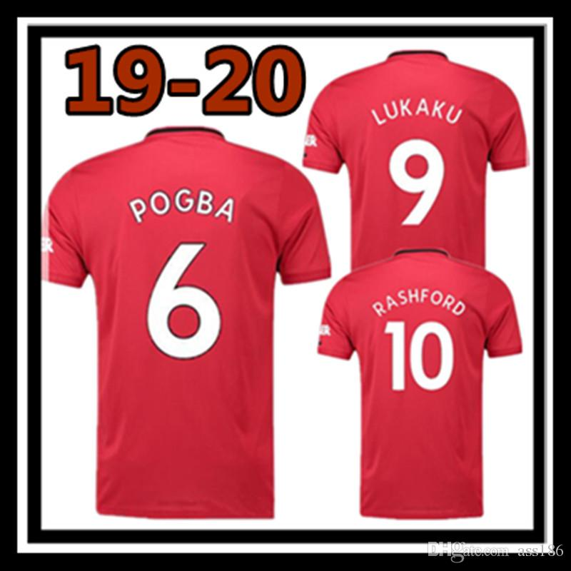 cheap for discount 3a50b b0b03 Free shipping top thai quality Manchester united home Soccer Jersey 19 20  pogba alexis RASHFORD men 2019 2020 lukaku Football shirt