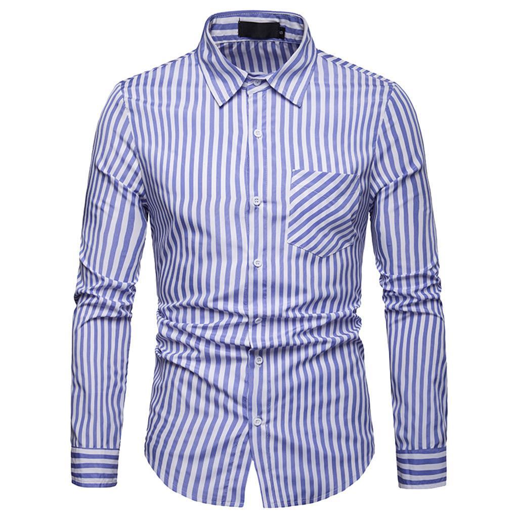 7cfb414f8ea5f Compre Camisa De Manga Larga Para Hombre Con Estampado De Rayas Camiseta De  Los Hombres Top Bolsillos Con Botones Bajar El Cuello Camisas Para Hombre  Ropa ...