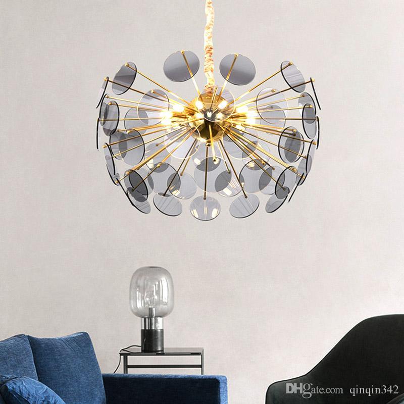 Lampadari moderni di lusso LED Light Golden Glass Creative Art Nordic  semplice ristorante americano stile camera da letto lampadario