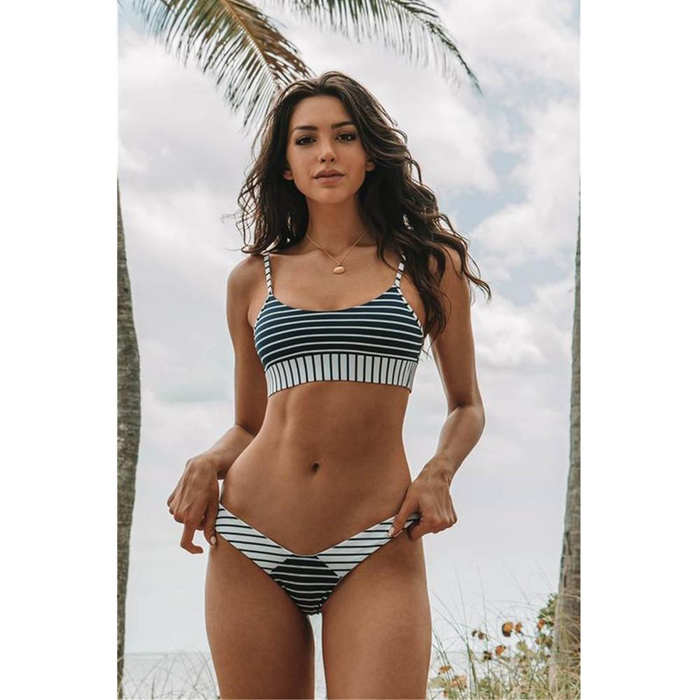 99c9a1acf63 2019 Women Swimsuit Sexy Spaghetti Strap Striped Print Padded Backless Low  Waist Brazilian Bikini Set Plus Size Swimwear Beachwear From Seein