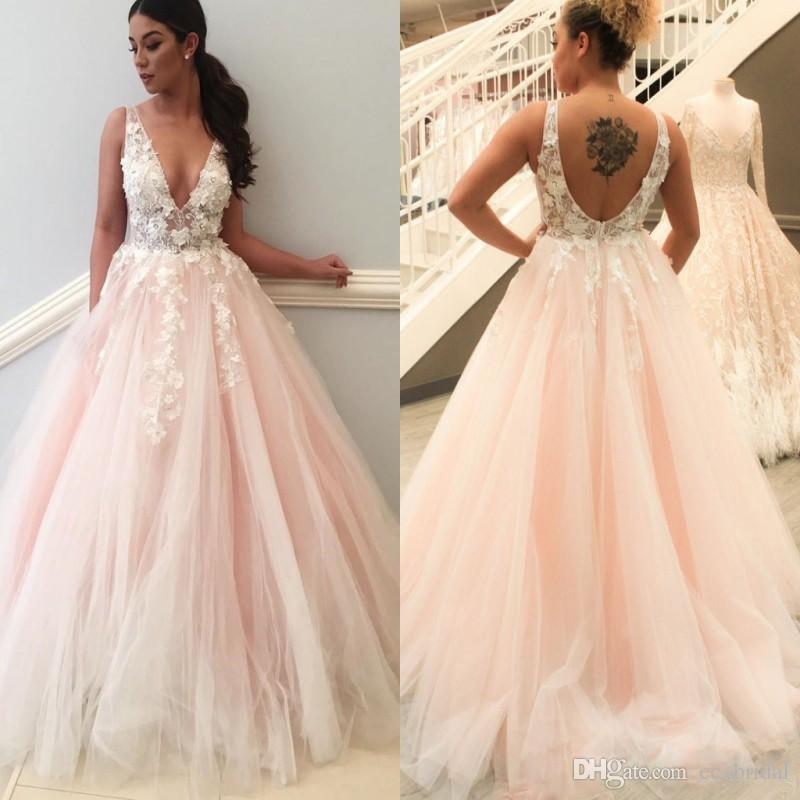 2019 Blush Pink Wedding Dresses Lace A Line V Neck Open Back Sheer Straps Bridal Gowns Appliques Petals Long Summer Beach Wedding Gowns