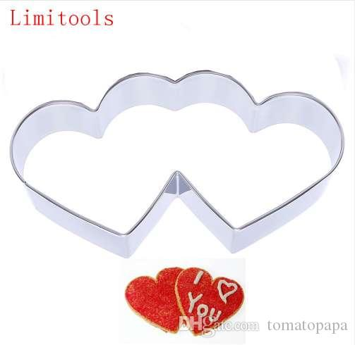 3D Sweet Love Theme Stainless Steel Cookie Cutter Candy Double Heart Metal  Biscuit Maker Kitchen Baking Pastry tool Free Ship