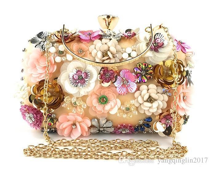 ff4122c3b05df Großhandel Mode Abendessen Tasche Dame Handgemachte Blume Perlen Tasche  Bankett Hochzeit Braut Spitze Handtasche Kette Tasche Abendessen Abend  Party ...