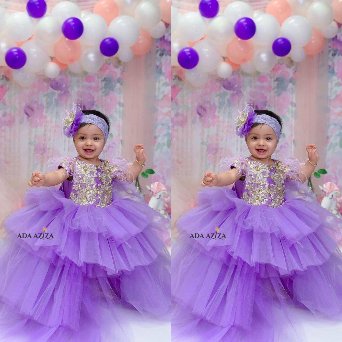 4786413d5 Flores púrpuras Vestidos para niñas Joya Encaje Apliques Lentejuelas Plumas  Faldas escalonadas Volantes Niños Vestidos de fiesta Vestido de fiesta ...