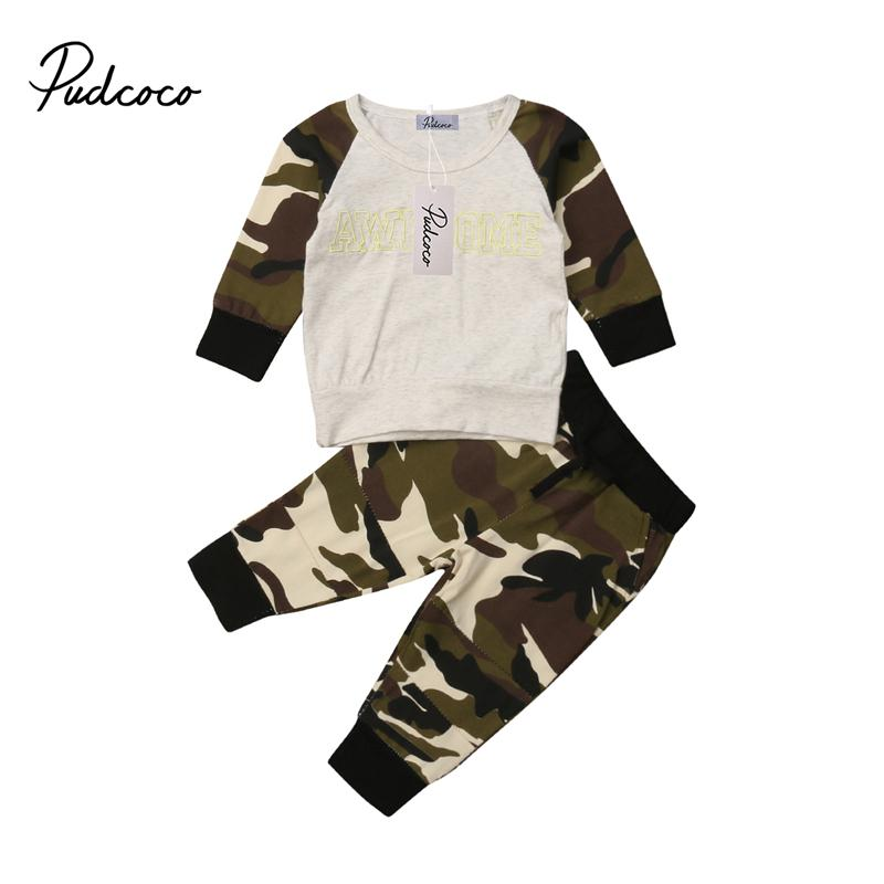039ba9f753fa1 Toddler Kids Baby Girl Boys Army Green Camo Clothing Sets Boys Girls Baby  Hooded Autumn Clothes Hoodies T-shirt Tops Pants Set