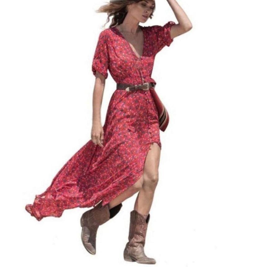 Maxi Red Bohemian Dress Robe Femme Chiffon Three Quarter Sleeve Print V  Neck Floral Dress Vestido Largo Verano Mujer Cute White Dresses For Summer  Lace ... 7298040f09e2