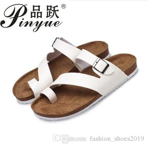 890c6375a468 Cross Men S Cork Sandals 2018 Genuine Leather New Solid Color Men Casual Summer  Shoes Sandales Femmes Size 35 45  45829 Buy Shoes Online Wedge Boots From  ...