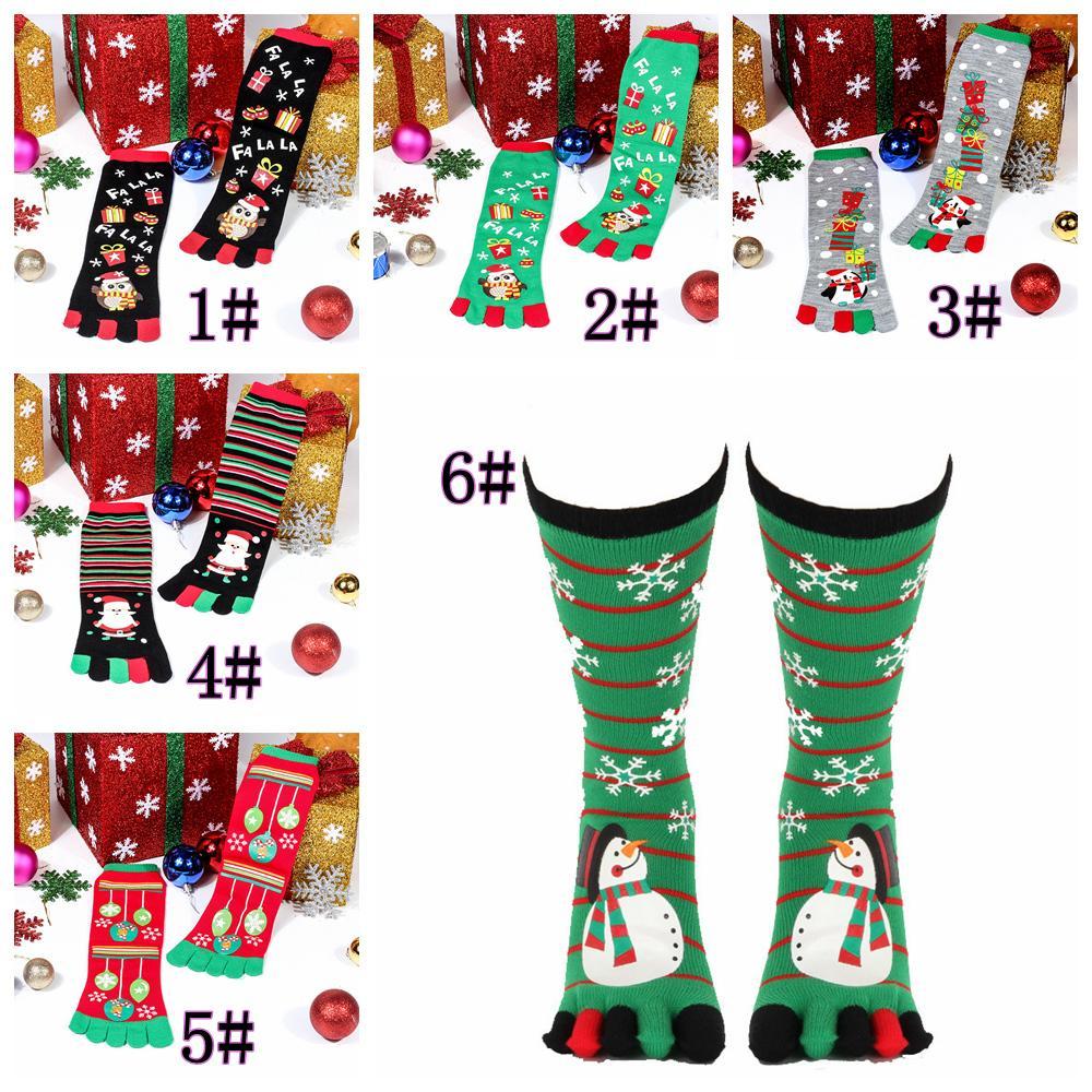 7styles Christmas Five Finger Cartoon Socks Knee High Socks Hosiery