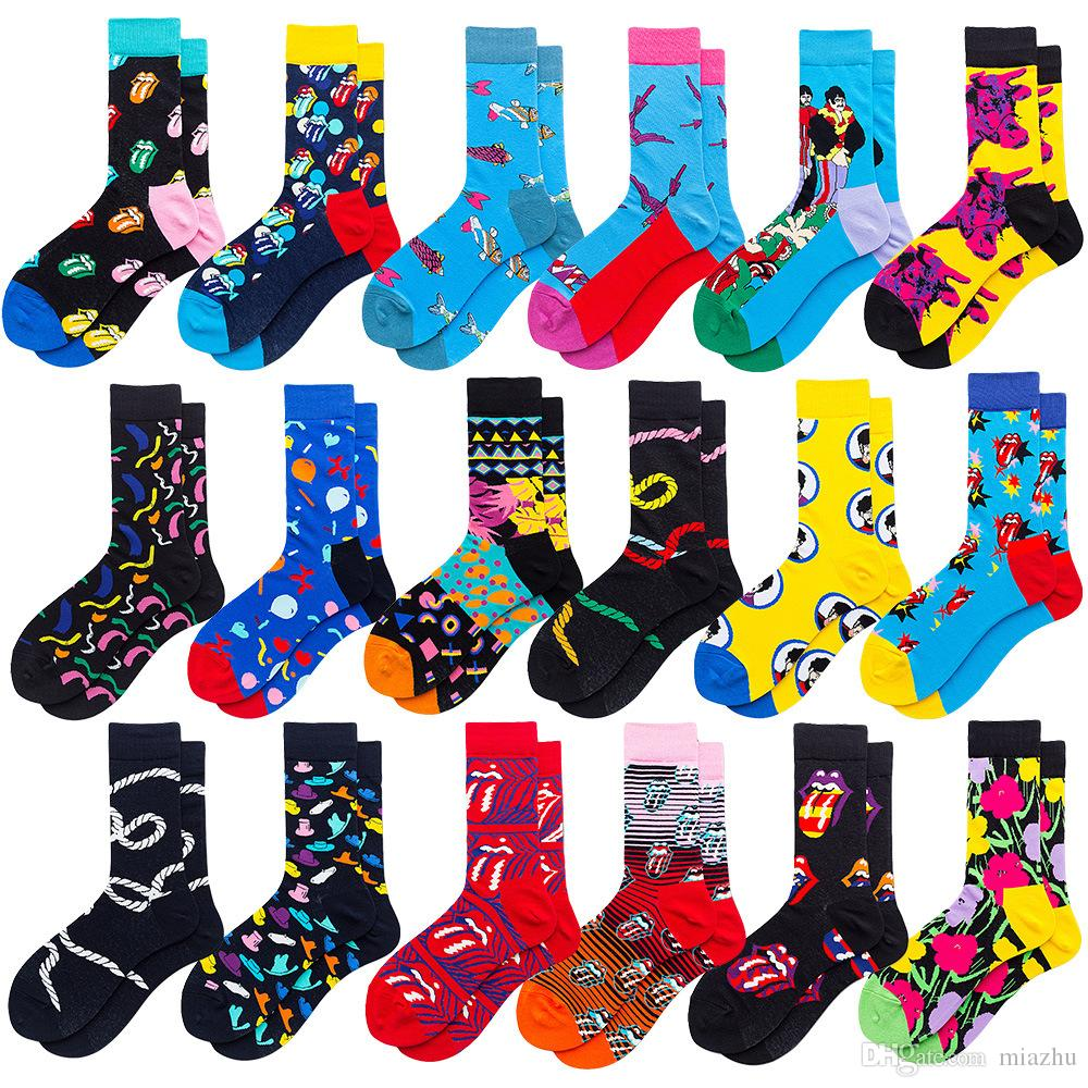 PEONFLY keith haring Fancy Character Face Colorful Personality Funny Women Men Unisex Socks Happy Socks Mens Crazy Funny Cotton Socks