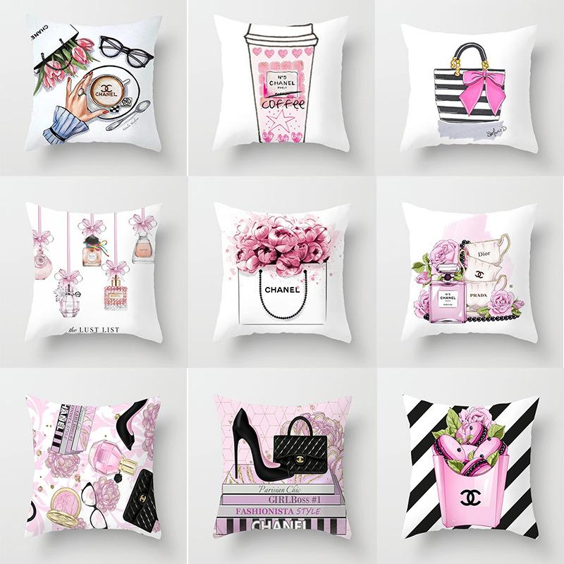 pillowcase The New Small perfume bottle series printing Pillowcase fashion Home Hotel car Cushion cover factory wholesale