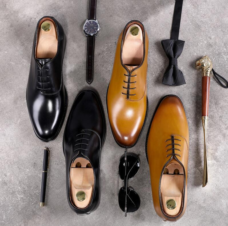 daa7a2a24 Goodyear Handmade Dress Shoes Men Lace Up Genuine Leather Vintage Italy  Style Male Derby Shoes Smart Casual Flats Oxfords Sperry Shoes Silver Heels  From ...