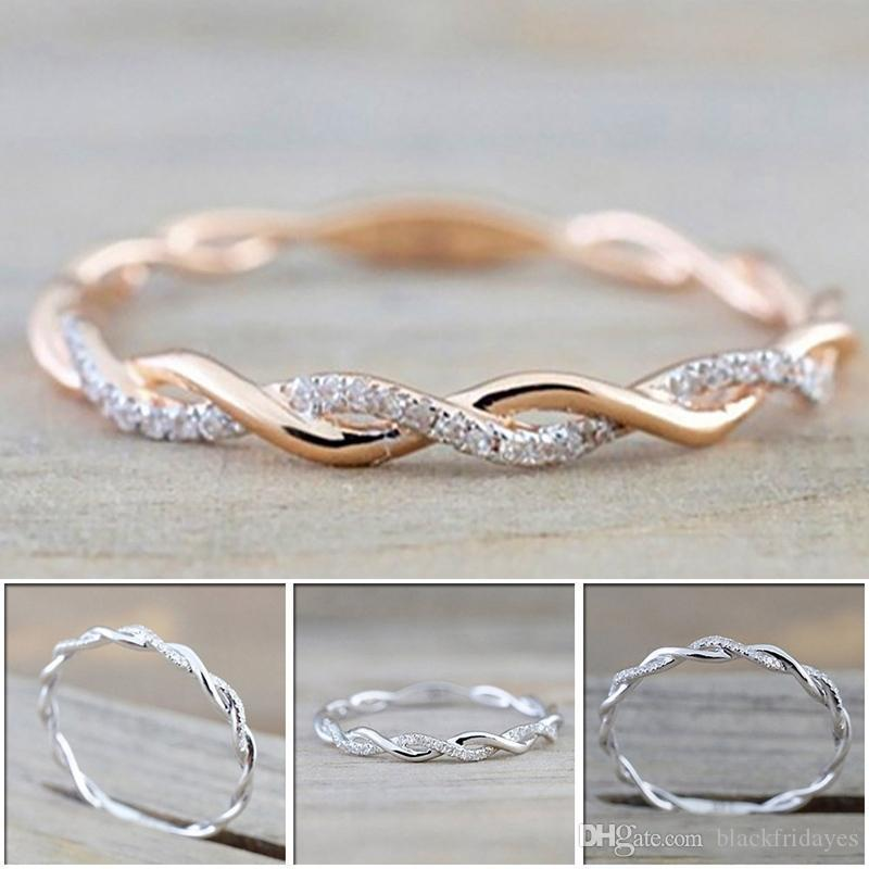 Designer luxury Wedding Rings jewelry New Style Stainless Steel Round diamond Rings For Women Thin Rose Gold Color Twist Rope Stacking