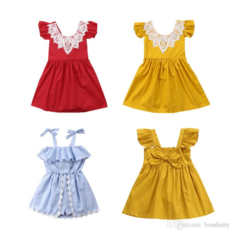 f700d880f597 2019 Baby Girl Designer Dresses Lace Collar Pleated Sleeves Striped ...