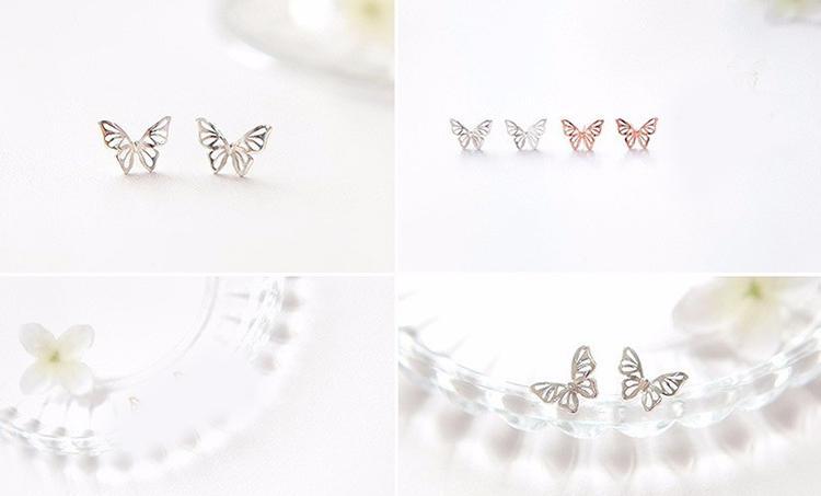 DIEERLAN Coréen Doux Bijoux De Mariage Ensembles 925 Sterling Argent Papillon Boucles D'oreilles Colliers pour Femmes Déclaration Parti Filles Cadeau