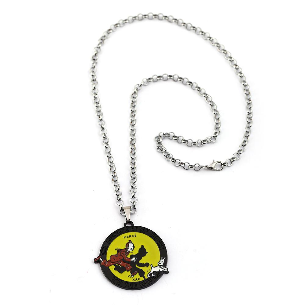 The Adventures of Tintins Necklace Metal Chain Men Pendant Necklaces Anime Jewelry Cosplay souvenir