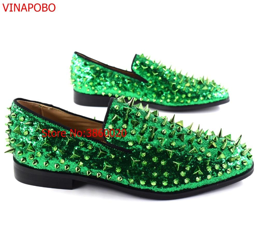 acda9319129 Fashion Green Spiked Loafers Shoes Men Round Toe Bling Sequins Banque  Wedding Shoes Mens Slip On Rivers Men Casual Leather Mens Slippers Footwear  From ...