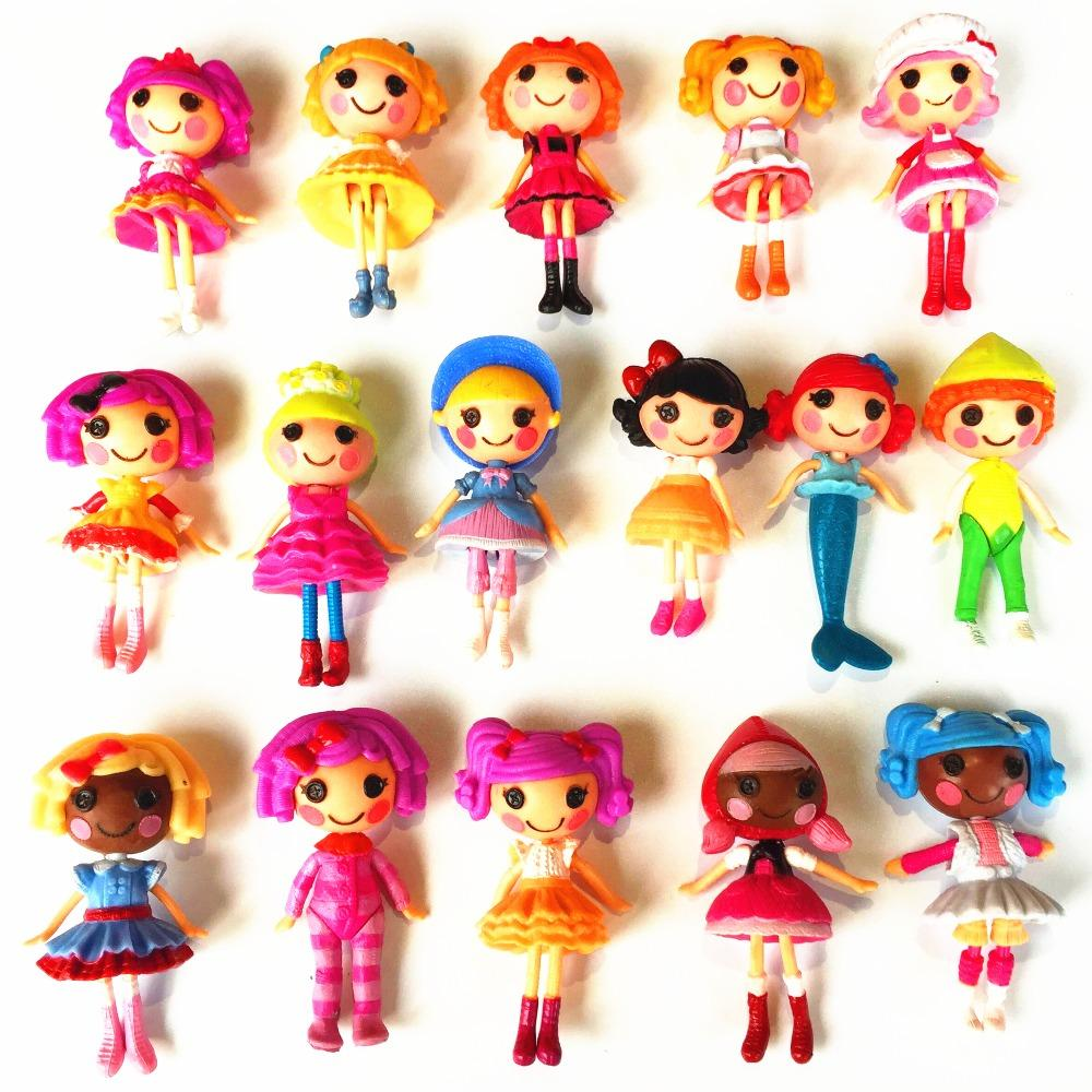 8pcs/set different random send New 8cm MGA mini Lalaloopsy Doll the bulk button eyes toys for girl classic toys Brinquedos