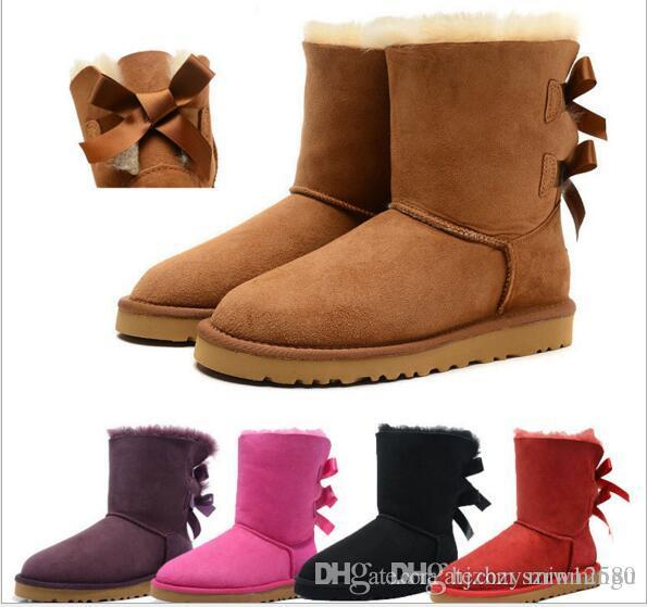 e08f6a4861b 2017 new fashion women bailey bow snow boots short winter Cowhide leather  Bowknot women's Australia Lady warm boots female shoes