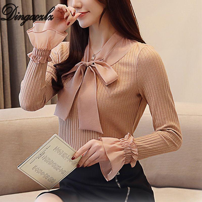 ccb826377b53 Dingaozlz moda blusa de las mujeres de manga larga ropa casual elegante  arco femenino costura camisa de gasa coreano 2019 dama tops