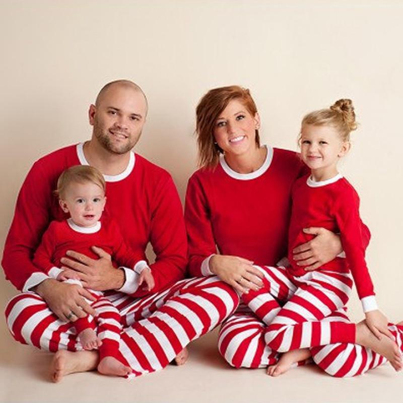 Family Matching Outfit Clothes 2018 Christmas Pajamas Set Mom And Daughter Full Sleeve Red White Green Stripes Sleepwear Qz031 J190517